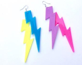 Lightning bolt earrings unicorn colors lightning bolt jewelry lightning bolts charm lightning bolt dangle earrings