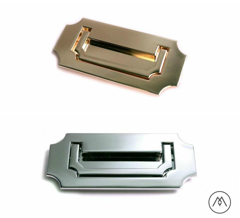 Campaign Furniture Handles - Polished Brass, Polished Chrome, or Matte Black