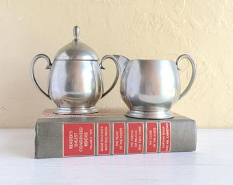 Pewter Cream and Sugar Set with Lid Tea Coffee Bar Serving Complete Silver Metal Vintage Antique Crescent 1631
