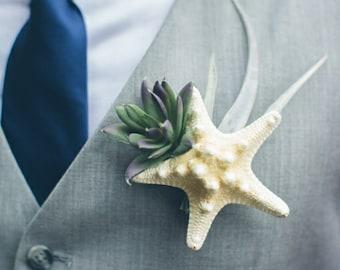 Starfish Boutonniere **featured on weddingchicks.com**