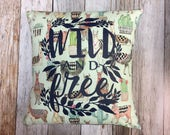 "Pillow 14"" with Wild and Free Silk Screen in Navy ..."