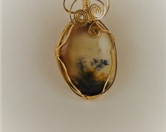 Dendritic Agate pendant necklace 14k Gold Filled Wire P310