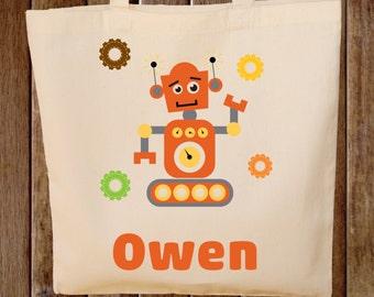 Robot Tote Bag  -- Boys Tote Bag -- Kids Tote Bag  -- Robot bag