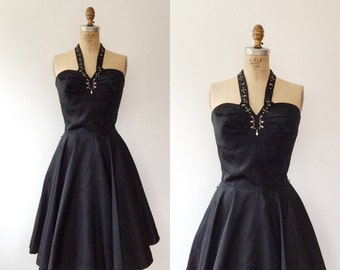 1950s halter dress / 1950s party dress / Bombshell dress