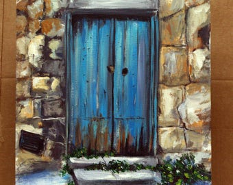 "Door Painting on 11"" x 14"" canvas panel. original painting, Blue door art, European art, wall decor, unframed art, home decor, Italian art"
