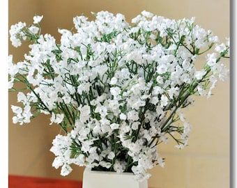 Lot of 60 PCS Artificial Plastic & Silk Gypsophila Baby's Breath Flower Plant Home Table Wedding Party Decor Bouquet