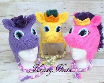 Crochet pony hat.Circus pony hat.