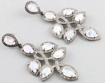 Pave Diamond Earrings, Pave Diamond Rainbow Moonstone Earrings, Rainbow Moonstone Earrings, Diamond Moonstone Earrings (DER-136)