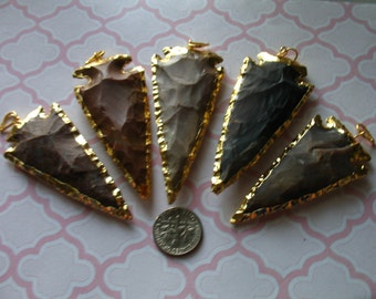 Jasper Arrowhead Pendant Charm / Jasper in Sterling Silver or 24k Gold Edge / 2-2.5 inches /  LARGE / 1-100 pieces / bohemian / ap10.5 jl