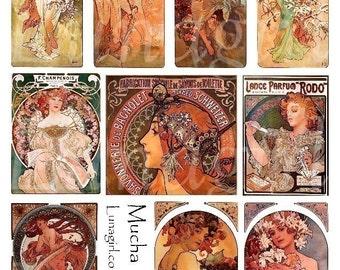 MUCHA digital collage sheet, ART NOUVEAU vintage ephemera, Paris ads, French women goddess seasons, orange elegant printables cards Download