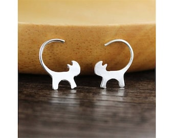 quality silver plated hoop earrings. cats