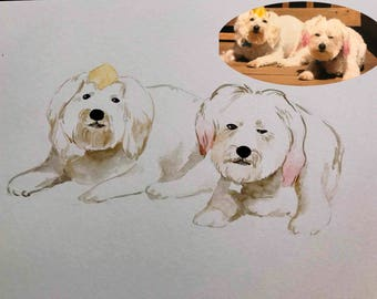 custom pet portrait custom dog portrait custom dog painting custom pet watercolor dog portrait watercolor pet portrait watercolor