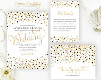 Gold and black wedding invitations packs | Confetti wedding invites printed on pearlescent paper
