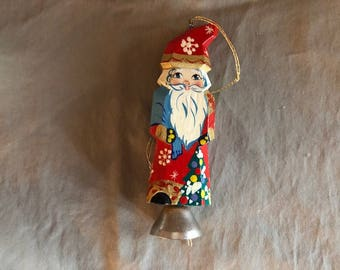 Vintage Hand Painted Wood Santa with Bell Bottom