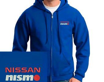 NISSAN NISMO Emboidered Hoodie royal blue Full Zip Hooded Sweatshirt New