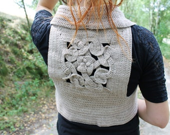 Crochet Celtic Knot Vest - Crocheted Vikings Motive On The Back, Unique And Original Piece - FREE SHIPPING WORLDWIDE
