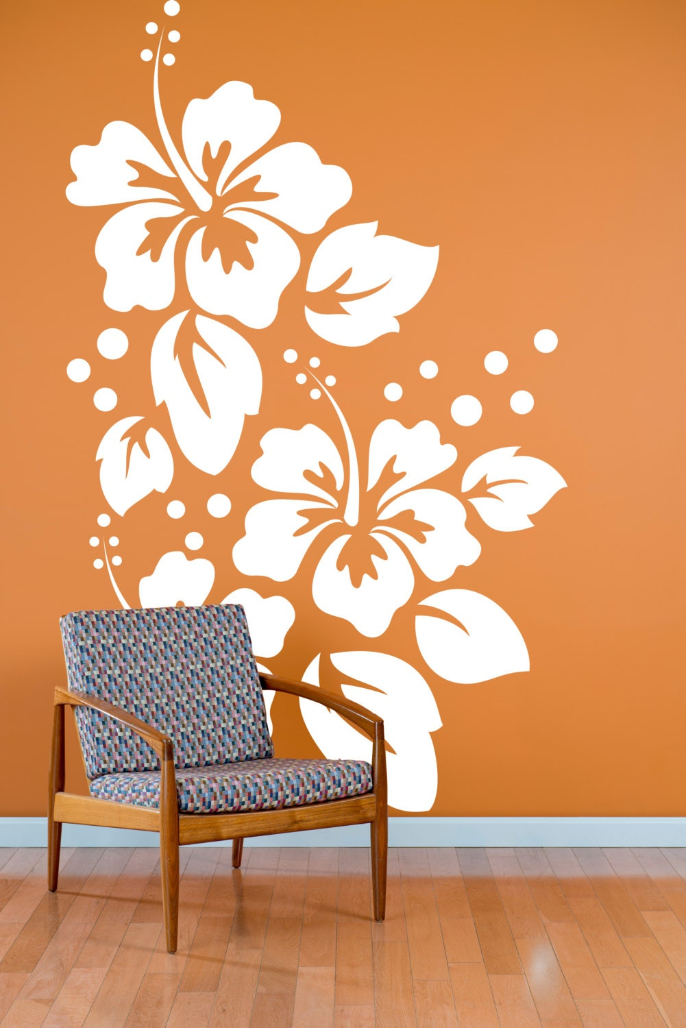 ?zoom & Large Hibiscus Flowers Pattern Wall Decal Custom Vinyl Art