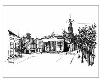 Illustration of Groningen: Korenbeurs and Vismarkt