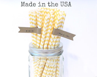 Yellow Paper Straws Yellow Straws 50 Made in USA Chevron Paper Straws Rustic Wedding Vintage Baby Shower Pink Lemonade Party Supplies
