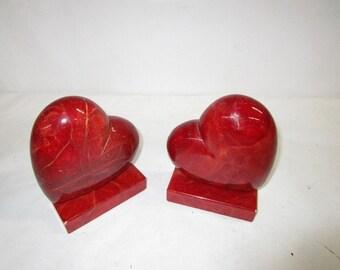 Vintage Italian Bookends Ducceschi Alabaster Hearts   *****Vintage Unknown********