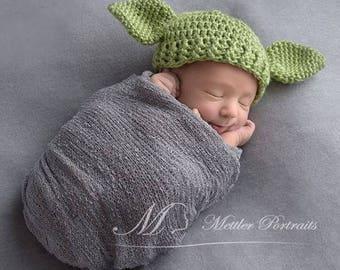 Crochet Yoda Hat   Yoda Costume   Toddler Yoda Hat   Yoda Baby   Star Wars Baby   Yoda Photo Prop    Star Wars Nursery   Adult Yoda Hat