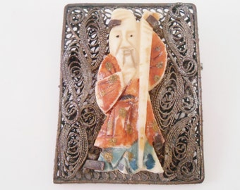 Chinese Celluloid Carved Figure Filigree Silver Tone Metal Brooch Pin