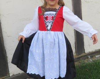 Cute Norwegian Bunad National Girls Costume Scandinavian Norway Hardanger Nordic International Folk Costume Dress