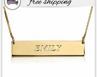 24k Gold Plated Name Bar Necklace • Personalized Bar Necklace • bar name necklace pendant • Custom name Jewelry • Initial Bar Necklace