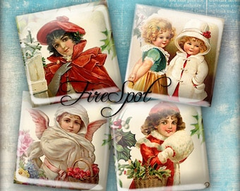Christmas Girl Xmas Angel - Digital Collage Sheet 1.5 inch 1 inch 25 mm 20 mm Squares Instant Download Glass Pendants Scrapbooking