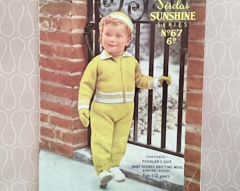 Vintage Knitting Pattern - Toddlers Suit 1- 2 Years, Sirdar 'Sunshine Series' No: 67, c1950's, Harrap Bros. Ltd, Vintage Crafts, Collectable