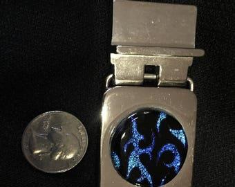 Blue flame dichroic belt buckle