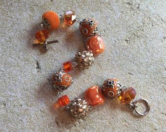 Orange Statement Bracelet, Glass Bead Bracelet, Beadwork Bracelet, Beaded Bracelet, Beaded Jewelry, Beadwork Jewelry,Womens Jewelry