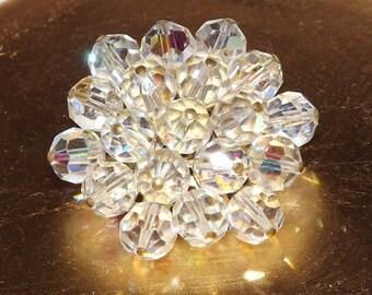 Crystal Brooch Aurora Borealis Crystal Bead Gold Tone Metal Jewellery