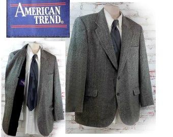 men's wool Sport coat, men's black and white blazer, Herringbone tweed sport coat , men's blazer, black and white wool sport coat , # 79