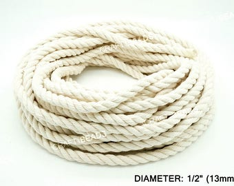 13MM - Natural White 3 Strand Cotton Twisted Cord Rope Craft Macrame Artisan 30 Feet Coil/Pkg