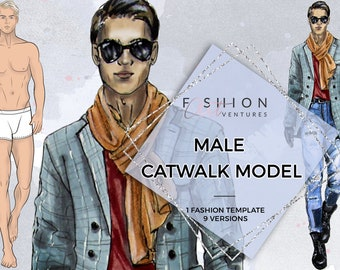 Male Catwalk Model Printable   Fashion Template, Fashion Illustration, Croquis, Fashion drawing, Fashion model template