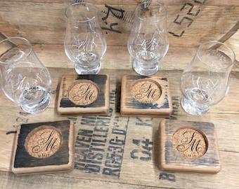 Glencairn Bourbon Barrel Coasters and Glass 4 Pack - Custom Engraved