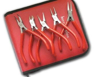 "BIJ-715, KENT 5pcs Mixed Pliers Kit, Beading Starter 4.5"" Pliers Kit with Case"