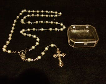 Catholic Rosary Pearl with Silver Center and Corpus