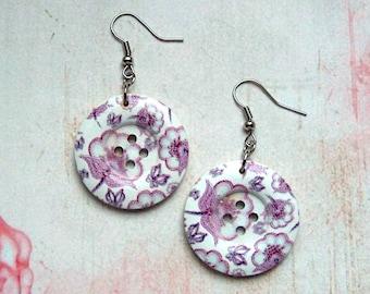 Earrings button Flower Purple