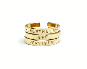 Nevertheless, She Persisted Handstamped Rings // Feminist Jewelry + The Future is Female + Women's Rights + Girl Power + Inspirational Rings