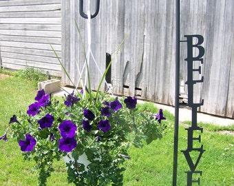 Shepherd Hook Inspirational Word Yard Garden Decor Art Plant Holder Hook  Believe Laugh Family Dream Inspire