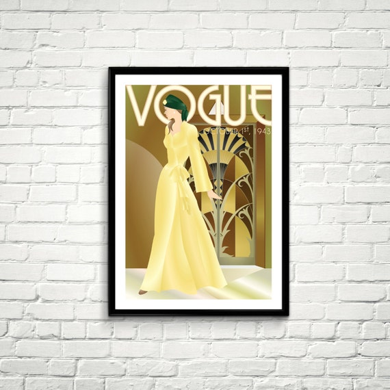 Vintage Vogue Cover Fashion wall Art oktober 1943 Edition