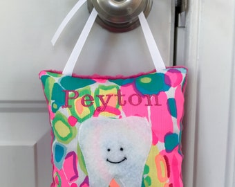 Personalized Lilly Pulitzer Tooth Fairy Pillow - Made to Order - Lilly Pulitzer Hanging Tooth Fairy Pillow
