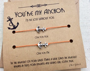 Anchor Bracelet Friend Gift Couples Bracelet His And Hers Bracelets For Couples Jewelry Matching Gift For Boyfriend Gift For Girlfriend Gift