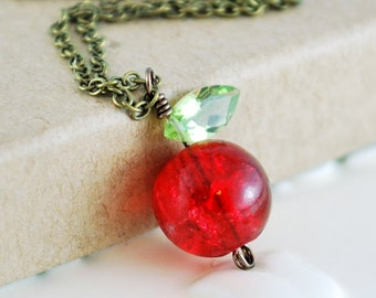 Cute Apple Necklace, Teacher's Gift, Bright Red Crackle Glass Bead, Genuine Peridot Gemstone, Antiqued Brass Jewelry