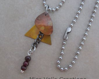harmony garnet necklace stainless steel oxidized brass copper