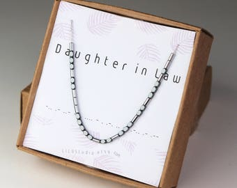 Daughter in law gift, Morse code necklace, in law necklace, gift for bride, Morse code bracelet, secret message jewelry, sterling silver