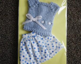 Blythe Skirt & Top Set - Polka Dot Print Skirt and Light Blue Top
