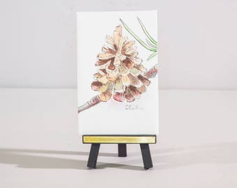 Pine cone mini print Desk accessories, desk decor, nature watercolor art, simple pine cone painting, Affordable gift under 30, holiday gift